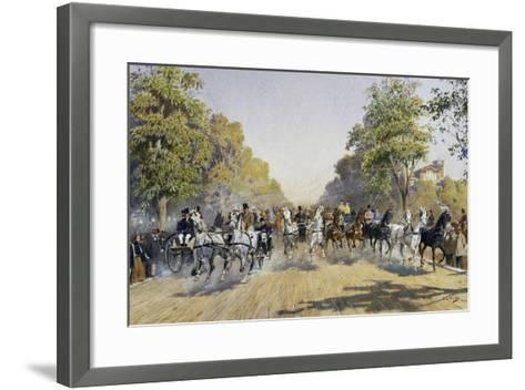 Carriage Race in Prater in Vienna, Watercolour, Austria, 19th Century--Framed Art Print