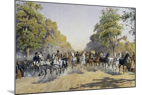 Carriage Race in Prater in Vienna, Watercolour, Austria, 19th Century--Mounted Giclee Print