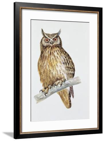 Close-Up of an Eurasian Eagle Owl Perching on the Branch (Bubo Bubo)--Framed Art Print