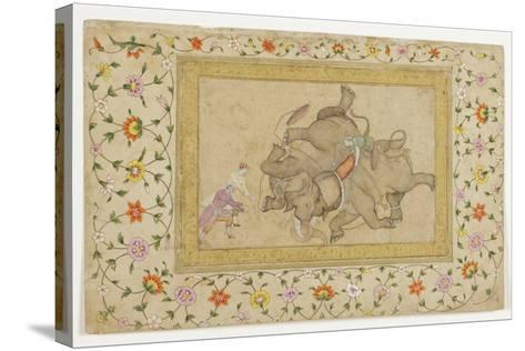 An Elephant Combat, with Border Floral Arabesque, C.1610--Stretched Canvas Print