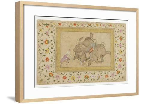 An Elephant Combat, with Border Floral Arabesque, C.1610--Framed Art Print