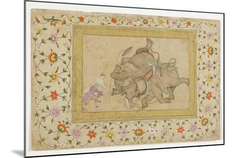 An Elephant Combat, with Border Floral Arabesque, C.1610--Mounted Giclee Print