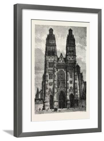 Facade of the Metropolitan Church of Tours, France. 1855--Framed Art Print