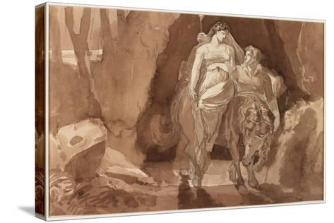Young Man Accompanying a Young Woman on Horseback--Stretched Canvas Print