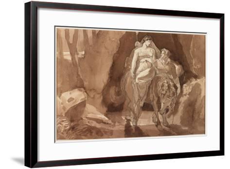 Young Man Accompanying a Young Woman on Horseback--Framed Art Print