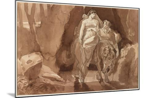 Young Man Accompanying a Young Woman on Horseback--Mounted Giclee Print