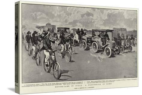 Motor-Cars in Italy, a Procession in Rome--Stretched Canvas Print