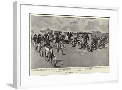 Motor-Cars in Italy, a Procession in Rome--Framed Art Print