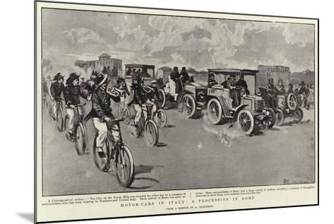 Motor-Cars in Italy, a Procession in Rome--Mounted Giclee Print