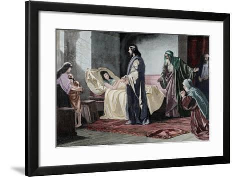 Resurrection of Jairus' Daughter, by Rusing--Framed Art Print