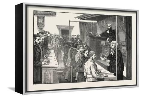 Swearing in Solicitors before the Master of the Rolls, 1876, UK--Framed Canvas Print