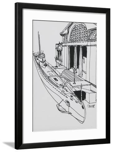 Line Drawn Art Postcard - U-505 Submarine--Framed Art Print