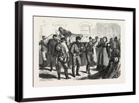 Franco-Prussian War: Wounded Soldiers the Station of Sarrebruck, 1870--Framed Art Print