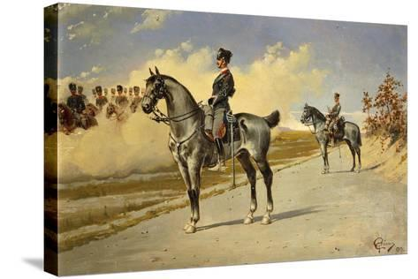 Cavalry Officer by E. Ghione, 1899--Stretched Canvas Print