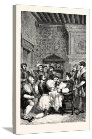 Cardinal Wolsey Is Served at Table by Nobles and Gentlemen--Stretched Canvas Print