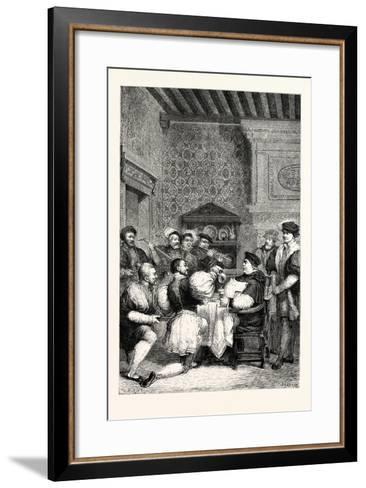 Cardinal Wolsey Is Served at Table by Nobles and Gentlemen--Framed Art Print