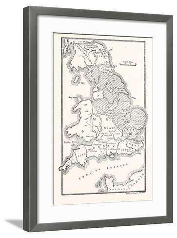 Map of England Showing the Anglo-Saxon Kingdoms and Danish Districts--Framed Art Print