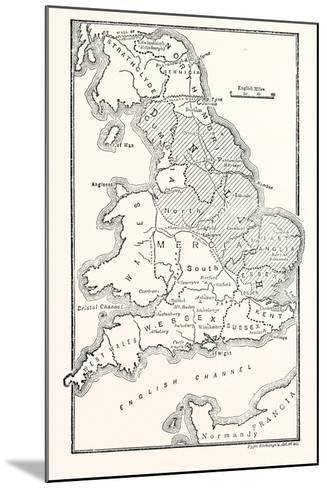 Map of England Showing the Anglo-Saxon Kingdoms and Danish Districts--Mounted Giclee Print