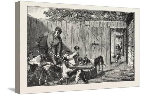 Fox Hunting, Breakfast Time at the Kennels, Hunt, 1876, UK--Stretched Canvas Print