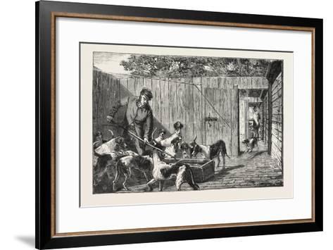 Fox Hunting, Breakfast Time at the Kennels, Hunt, 1876, UK--Framed Art Print