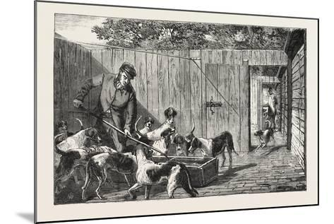 Fox Hunting, Breakfast Time at the Kennels, Hunt, 1876, UK--Mounted Giclee Print
