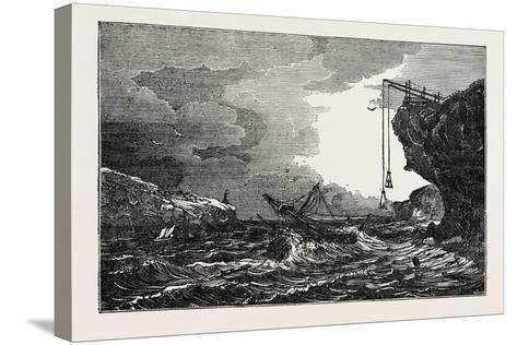 Communication with a Ship in Distress by Means of the Cliff Waggon--Stretched Canvas Print