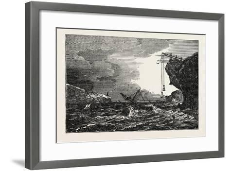 Communication with a Ship in Distress by Means of the Cliff Waggon--Framed Art Print