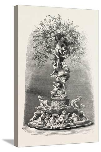 Fruit and Flower Stand in Silver, Table Decoration, 1882--Stretched Canvas Print