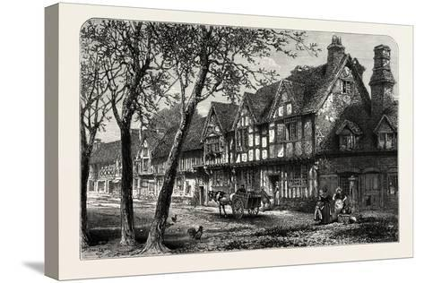 Houses, Under, the Castle, Warwick, UK, 19th Century--Stretched Canvas Print