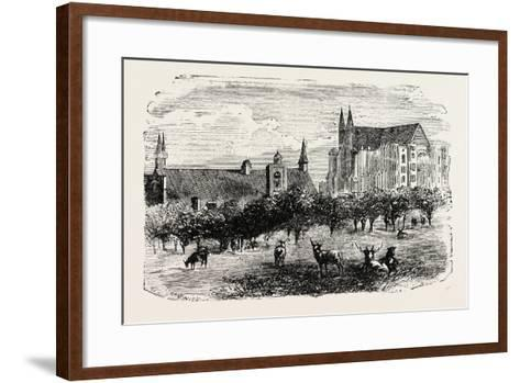 Westminster Abbey and Hall in the 15th Century--Framed Art Print