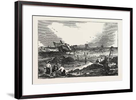 The Betsy Cains Ashore at Tynemouth, UK--Framed Art Print