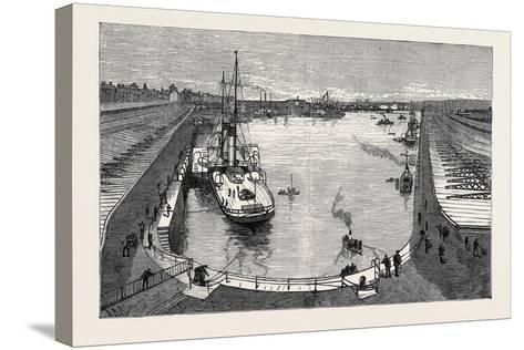 The New Dock from the Hotel Holyhead 1880--Stretched Canvas Print