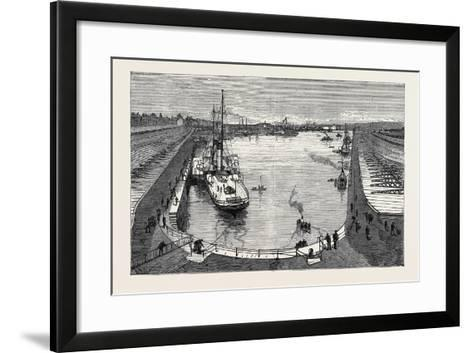 The New Dock from the Hotel Holyhead 1880--Framed Art Print