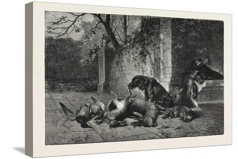 After the Hunt, Dogs, Deer, Hare, Ducks, 1876--Stretched Canvas Print