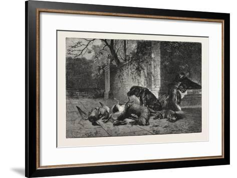 After the Hunt, Dogs, Deer, Hare, Ducks, 1876--Framed Art Print