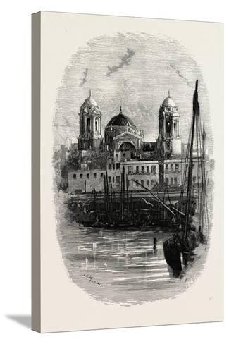 Cathedral of Cadiz, from the Harbour, Spain--Stretched Canvas Print