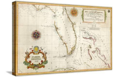 Spanish Map of Florida and the Bahamas, 1805--Stretched Canvas Print