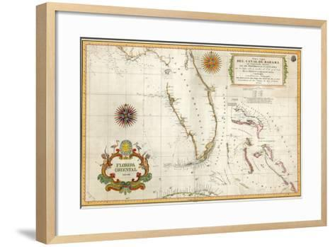 Spanish Map of Florida and the Bahamas, 1805--Framed Art Print