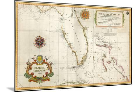 Spanish Map of Florida and the Bahamas, 1805--Mounted Giclee Print