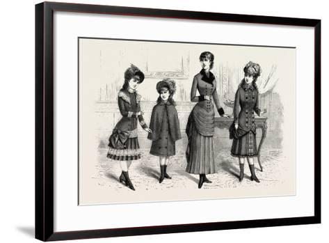 Girls' Winter Costumes, Fashion, 1882--Framed Art Print