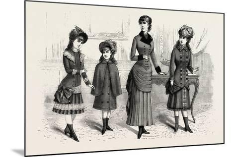 Girls' Winter Costumes, Fashion, 1882--Mounted Giclee Print