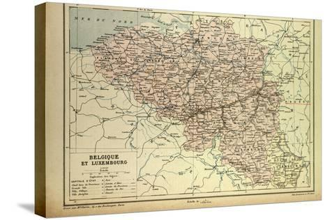 Map of Belgium and Luxemburg--Stretched Canvas Print