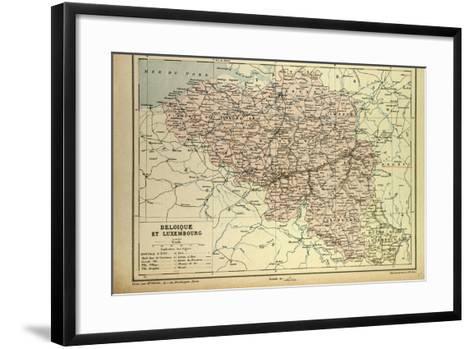Map of Belgium and Luxemburg--Framed Art Print