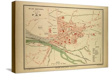 Map of Pau France--Stretched Canvas Print