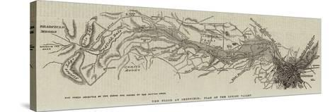 The Flood at Sheffield; Plan of the Loxley Valley--Stretched Canvas Print