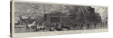 The Great Fire Near the Albert Bridge, Battersea--Stretched Canvas Print