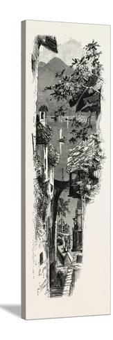 A Street at Varenna, the Italian Lakes, Italy, 19th Century--Stretched Canvas Print