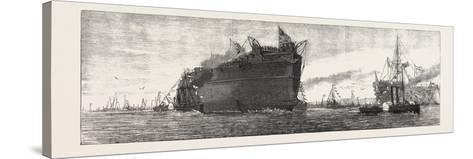 The Inflexible Being Towed to Her Moorings, 1876, UK--Stretched Canvas Print
