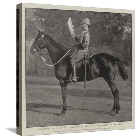 Colonel R S S Baden-Powell on His Charger Aconite--Stretched Canvas Print