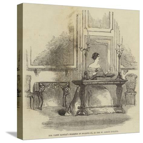 Mrs Fanny Kemble's Readings of Shakespeare, at the St James's Theatre--Stretched Canvas Print